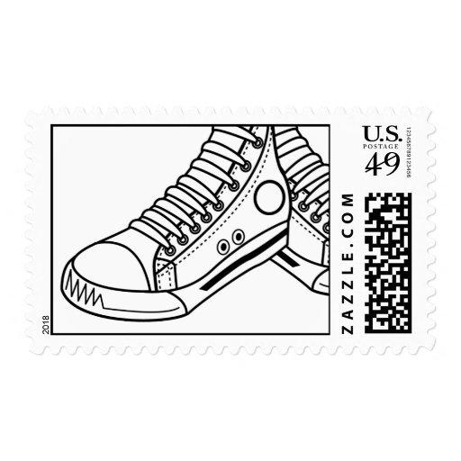 Black & White Basketball Sneaker Postage