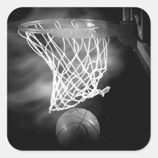 Black & White Basketball Square Sticker