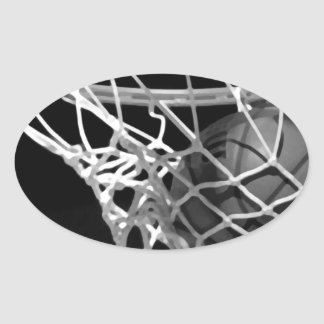 Black White Basketball Oval Stickers