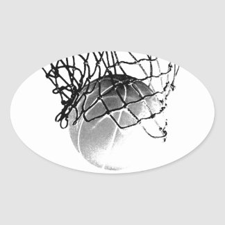 Black & White Basketball Oval Stickers