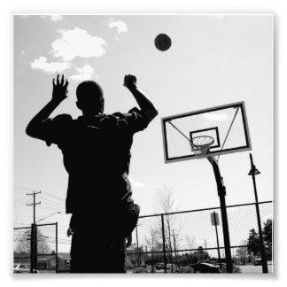 Black & White Basketball Toss Photographic Print