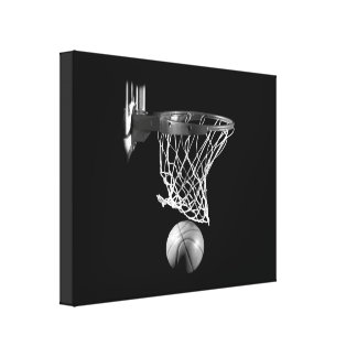 Black & White Basketball Wrapped Canvas