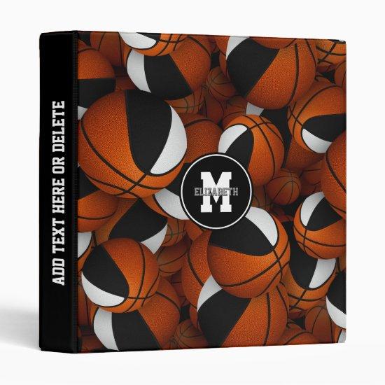 black white basketballs kids back to school 3 ring binder