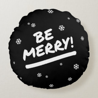 Black/White Be Merry Marker Pen Holiday Snowflake Round Pillow