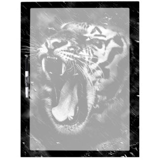 Black & White Beautiful Tiger Head Wildlife Dry-Erase Board