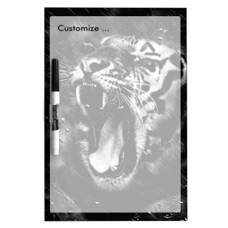 Black & White Beautiful Tiger Head Wildlife Dry Erase Board