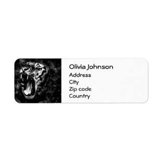 Black & White Beautiful Tiger Head Wildlife Label