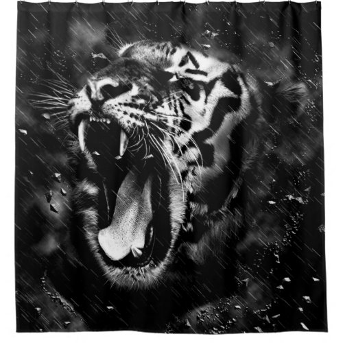 Black & White Beautiful Tiger Head Wildlife Shower Curtain