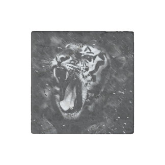 Black & White Beautiful Tiger Head Wildlife Stone Magnet