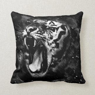 Black & White Beautiful Tiger Head Wildlife Throw Pillow