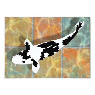 Black & White Bekko Koi in Tiled Pond Card