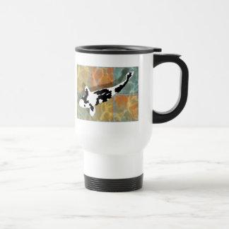 Black & White Bekko Koi in Tiled Pond 15 Oz Stainless Steel Travel Mug