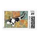 Black & White Bekko Koi in Tiled Pond Postage Stamps
