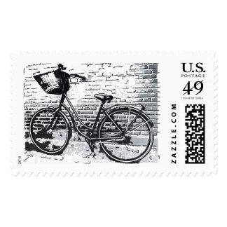 Black & White Bicycle Sketch Postage