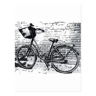 Black & White Bicycle Sketch Postcard
