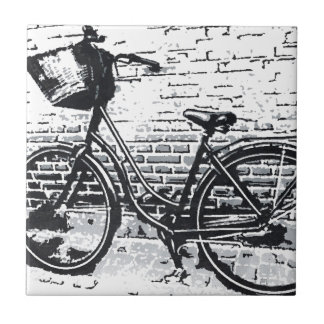 Black & White Bicycle Sketch Tile