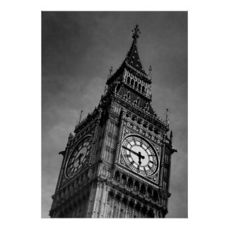Black & White Big Ben Art Photography Poster