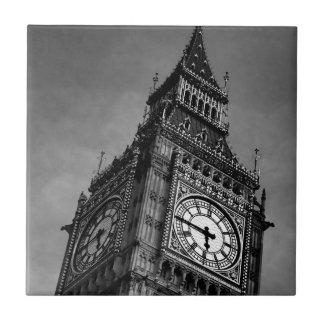 Black & White Big Ben Clock Tower Tile