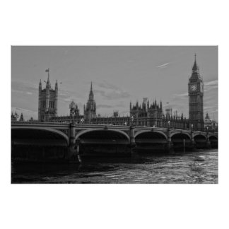 Black White Big Ben Tower Palace of Westminster Poster