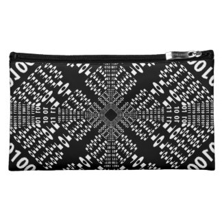 Black & White Binary Fractal Makeup Bags