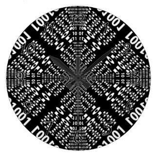 Black & White Binary Fractal Large Clock