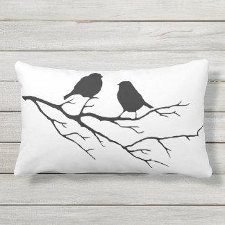 Black & White Bird on Branch Silhouette Outdoor Pillow
