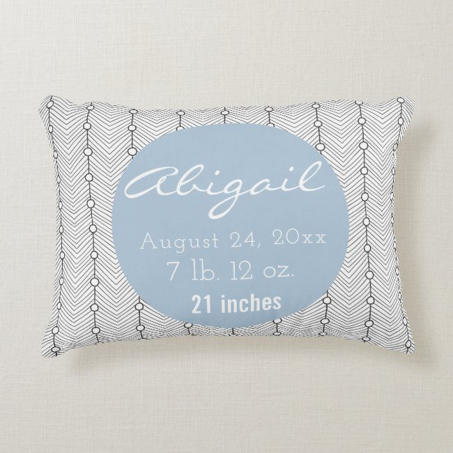 Black & White Birth Record Nursery Accent Pillow