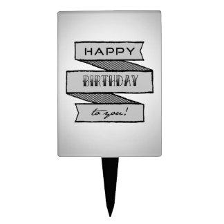 Black & White Birthday Banner Tattoo Cake Topper