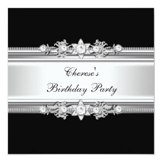 Black White Birthday Party Silver Jewel Image Invitations