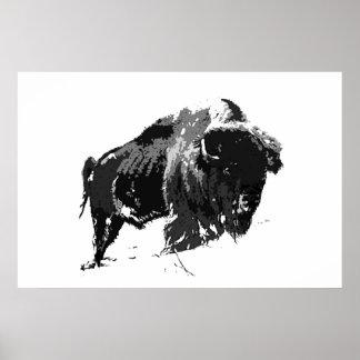 Black & White Bison Buffalo American Artwork Poster
