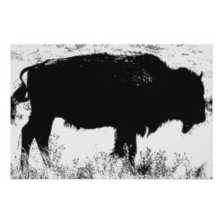 Black & White Bison Buffalo Pop Art Poster