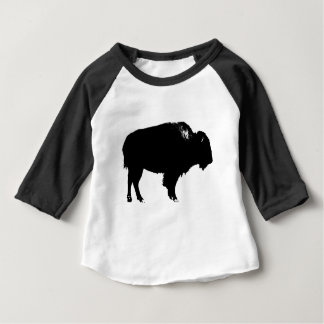 Black & White Bison Buffalo Silhouette Pop Art Baby T-Shirt