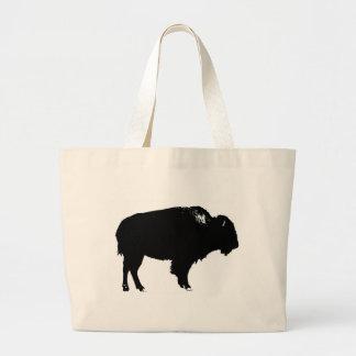 Black & White Bison Buffalo Silhouette Pop Art Large Tote Bag