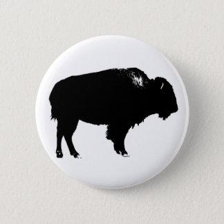 Black & White Bison Buffalo Silhouette Pop Art Pinback Button