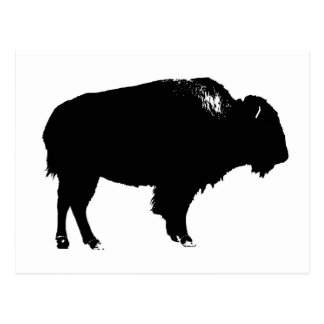 Black & White Bison Buffalo Silhouette Pop Art Postcard