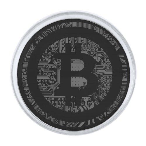 Black/White Bitcoin Circuitry Lapel Pin