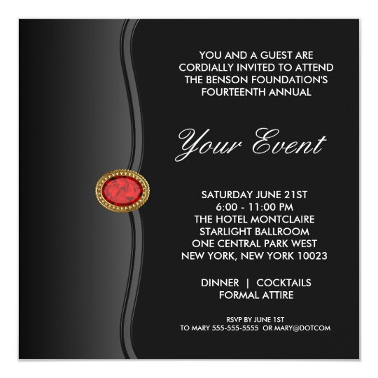 Bulk rate corporate party invitations announcements zazzle black white black tie corporate party event card stopboris Gallery