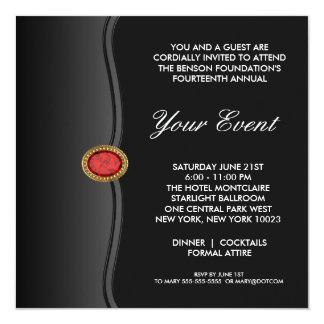 Black White Black Tie Corporate Party Event 5.25x5.25 Square Paper Invitation Card
