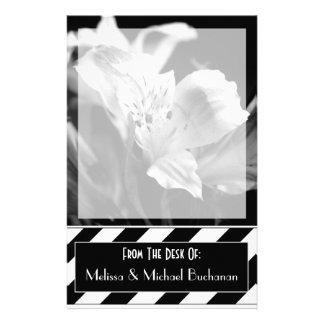 Black & White Blank Iris Personalized Stationery