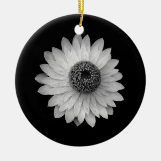 Black White Blossom Photography Ceramic Ornament
