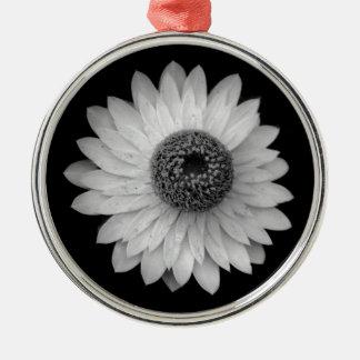 Black White Blossom Photography Metal Ornament