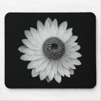 Black White Blossom Photography Mouse Pad
