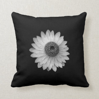 Black White Blossom Photography Throw Pillow