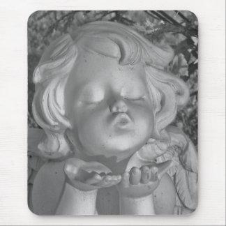 Black & White Blow A Kiss Angel Mousepad