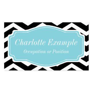 Black White Blue Chevron Personal Business Card