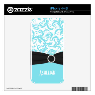 Black White Blue Damask iPhone 4/4s Skin iPhone 4 Decals