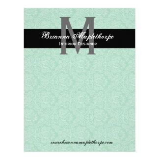 Black White Blue Damask Monogram Letterhead