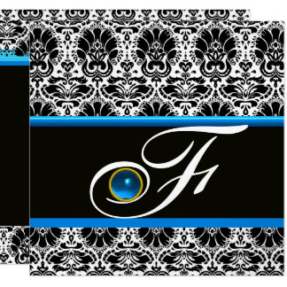 BLACK WHITE BLUE DAMASK MONOGRAM Sapphire Silver Card