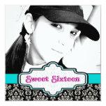 Black white blue damask Sweet Sixteen birthday 5.25x5.25 Square Paper Invitation Card