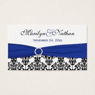 Black, White, Blue Damask Wedding Favor Tag
